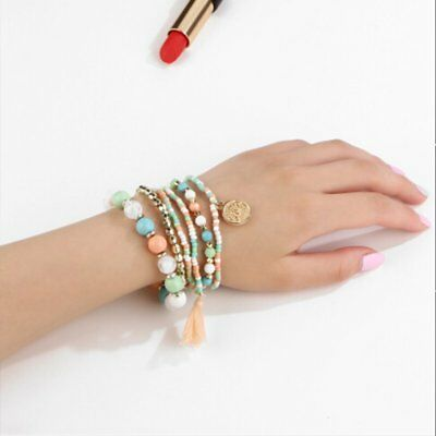 6Pcs/Set New Women Ethnic Boho Multilayer Tassel Beads Bracelet Bangle Jewelry 2