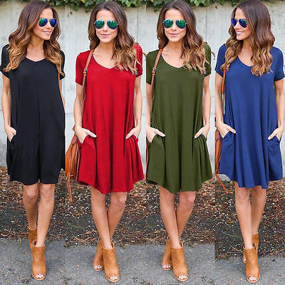Summer Women Short Sleeve Dress Casual Party Evening Cocktail Short Mini Dress