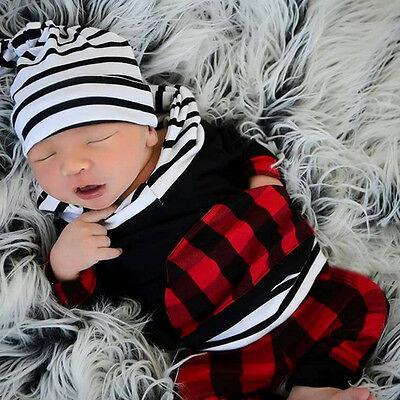 nouveau né bébé garçon enfants manches longues à capuche rayé à carreaux haut +
