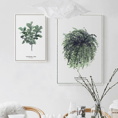 Watercolor Plants Leaves Canvas Art Vintage Poster Prints Home Wall Decoration 3