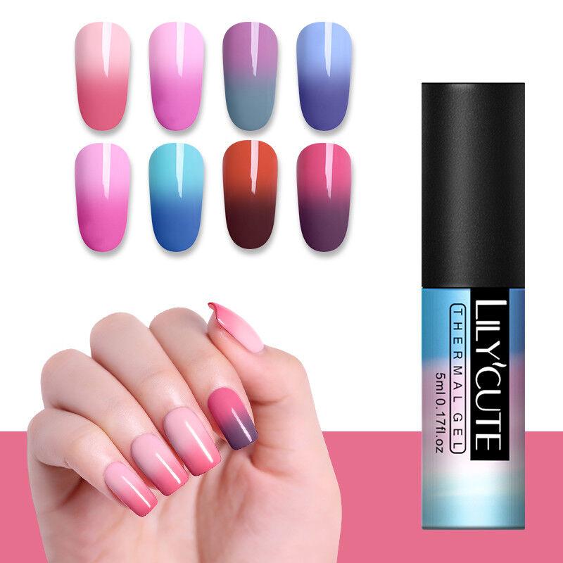 5ml LILYCUTE Nail Art Vernis à Ongles Semi Permanent Gel UV Thermal Gel Polish 8