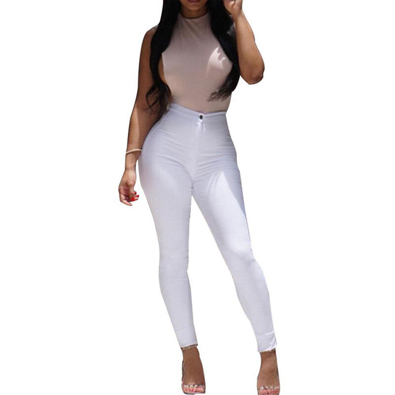 Women Stretch Pencil Pants High Waist Skinny Jeggings Jeans Casual Slim Trousers 6