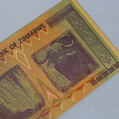 10pcs Zimbabwe 100 Trillion Dollars Banknote Gold Foil Bill World Money Collect 4