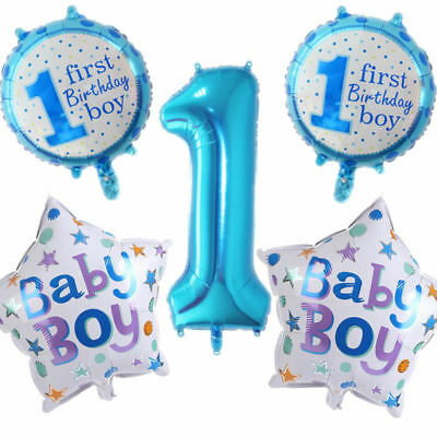 Happy 1st Birthday Party Foil Balloons First Number 1 Baby Boy Girl Rose Gold 6