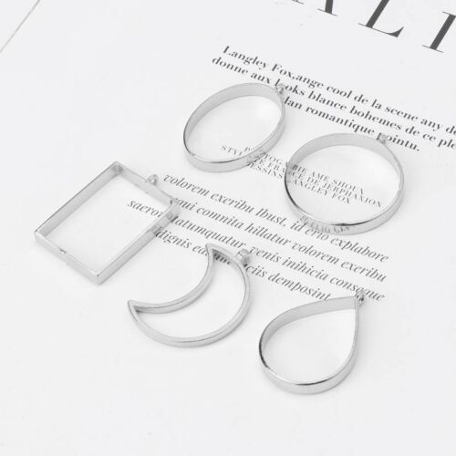 10Pcs Geometric Hollow Pressed Flower Resin Blank Frames Pendants Jewelry Making 9