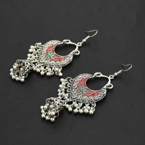 Vintage Sliver Bollywood Jewelry Meenakari Jhumki Jhumka Drop Earrings for Women 5