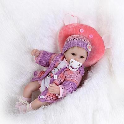 """18"""" Handmade Lifelike Reborn Doll Silicone Baby Girl Doll Vinyl Newborn Boy Doll 2"""