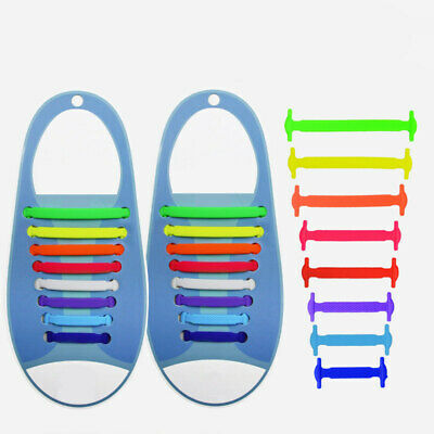 Elastic Silicone No Tie 'Lazy' Shoe Laces Shoelaces Trainers Shoes Adult & Kids❤ 10