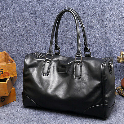 Black Large Mens Leather Vintage Duffle Luggage Weekend Gym Overnight Travel Bag