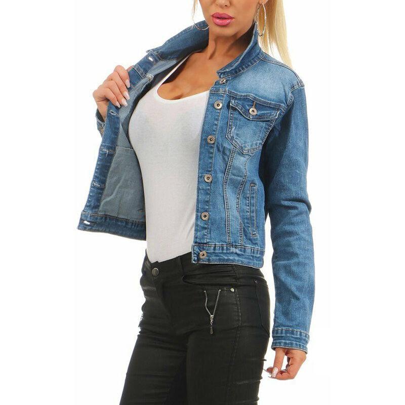 Stretch Jeansjacke Damen Mode Tops Outdoor Jean YfvbgI67y