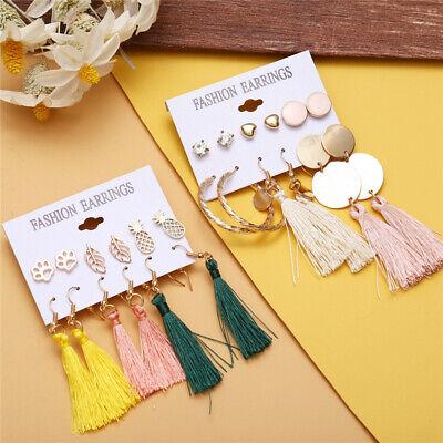 6Pairs Boho Tassel Crystal Pearl Earrings Set Women Ear Stud Dangle Jewelry Gift 10