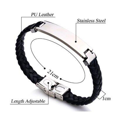 Personalised Mens Leather Bracelet Engraved Birthday Wedding Dad Boyfriend Gifts 9