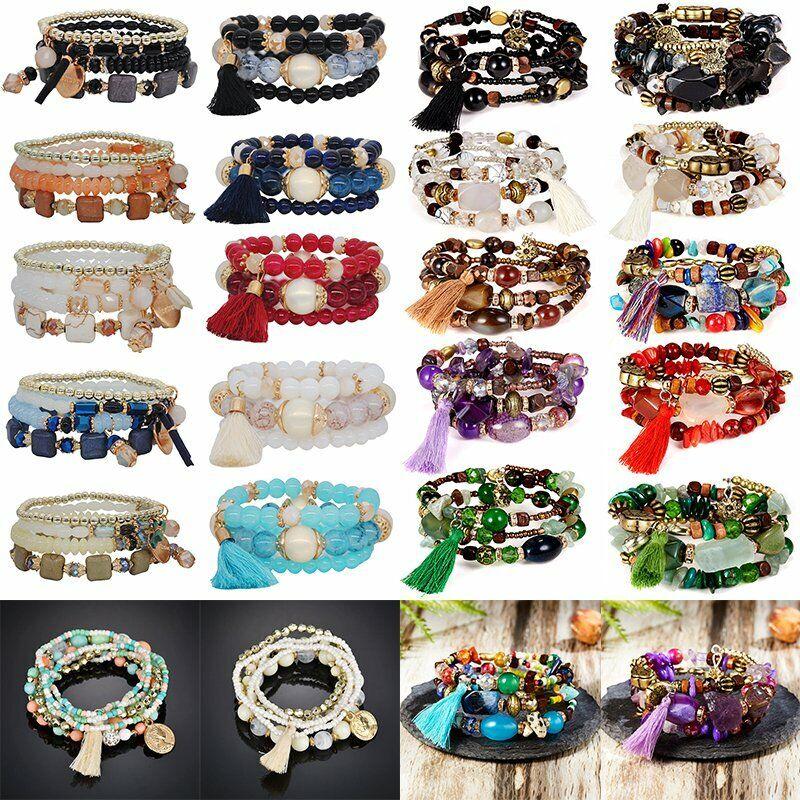 Boho Multilayer Natural Stone Bead Tassel Pendant Chain Bracelet Charm Women Set 4