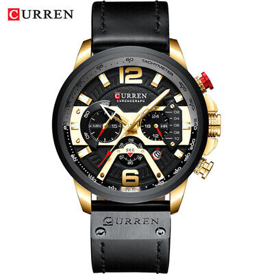 CURREN Casual Sport Watches for Men Blue Top Brand Luxury Military Leather Wrist 5
