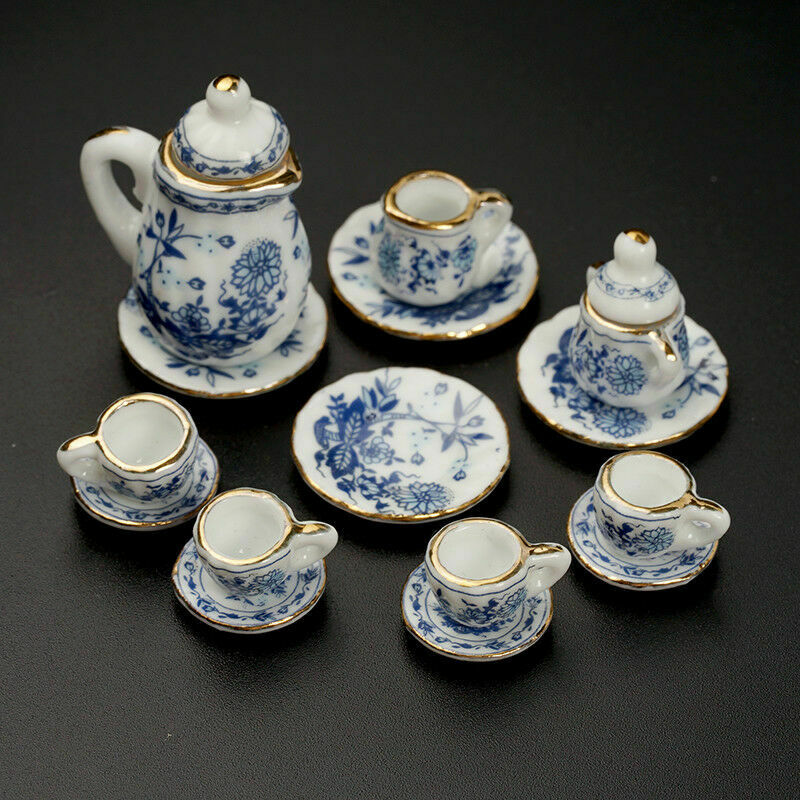 15Pcs Dining Ware Ceramic Blue Flower Set For 1:12 Miniatures Dollhouse A2X8 4