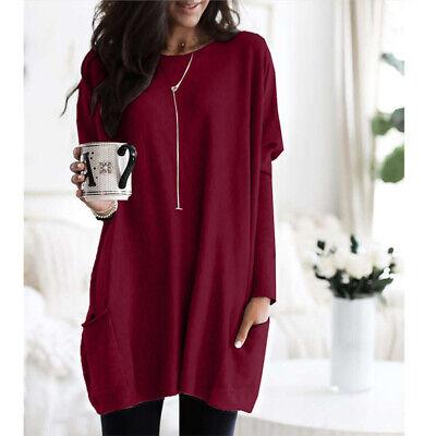 Women Long Sleeve Pocket Autumn Tunic Tops Loose Casual Blouse T-Shirt Plus Size 6