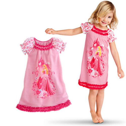 Kids Girls Princess Cartoon Nightie Nightdress Pyjama Sleepwear Nightwear Summer 8