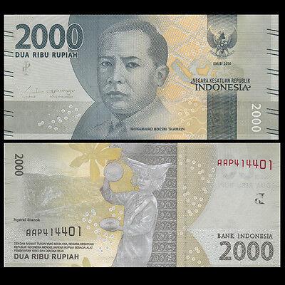Lot 10 PCS, Indonesia 2000 Rupiah, 2016, P-NEW, UNC>New Design 2