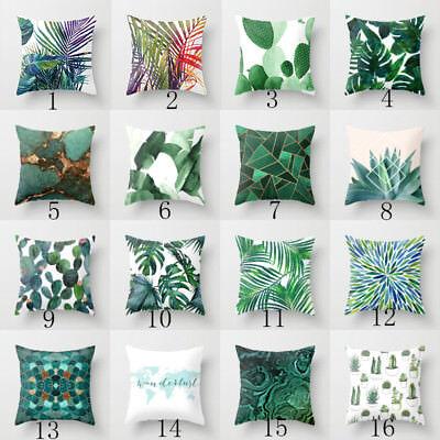 Polyester pillow case cover green leaves throw sofa car cushion cover Home Decor 2