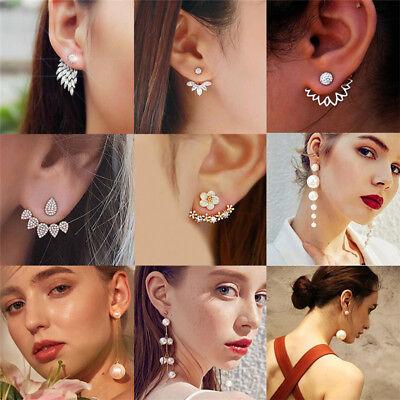 New Women Pearl Crystal Geometric Statement Drop Dangle Earrings Wedding Jewelry 12