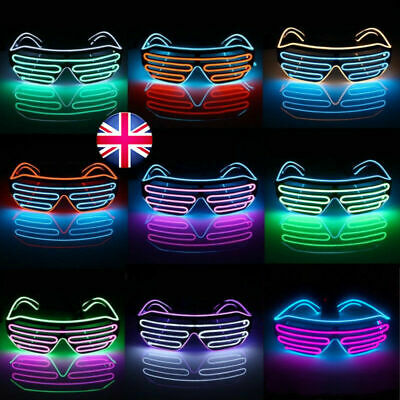 LED EL Wire Glasses Light Up Glow Sunglasses Eyewear Shades for Nightclub Party 7