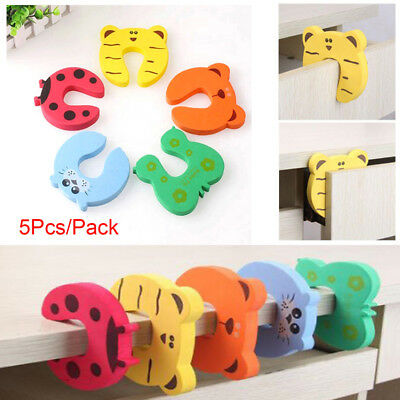 5/10pcs Children Baby Safety Cartoon Door Stopper Clip Clamp Pinch Hand Security 2
