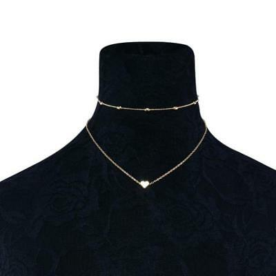 necklace double layer heart chain hot multilayer choker pendant  gold silver UK 6
