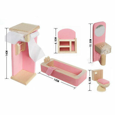 Kid's Children Wooden Furniture Dolls Family House Miniature 6 Room Set Doll Toy 7