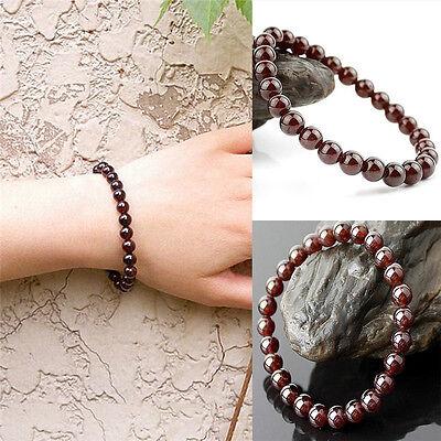 Fashion Pure Natural Garnet Bracelet Jewelry Gemstone Round Beads BraceletNWCA