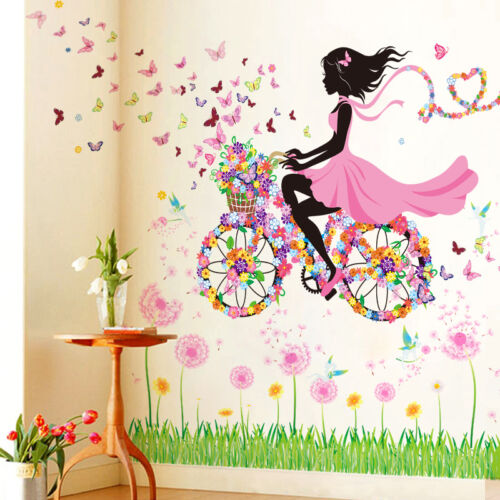 fahrrad blumen m dchen wandaufkleber wandsticker wandtattoo kinderzimmer deko eur 6 50. Black Bedroom Furniture Sets. Home Design Ideas