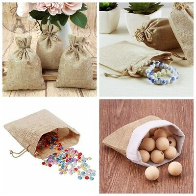 5-50pc Small Burlap Jute Hessian Wedding Favor Pack Gift Bags Drawstring Pouches 3