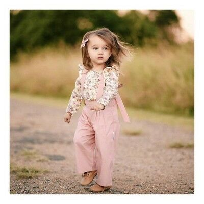2PCS Toddler Kids Baby Girl Winter Clothes Floral Tops+Pants Overall Outfits AU 7
