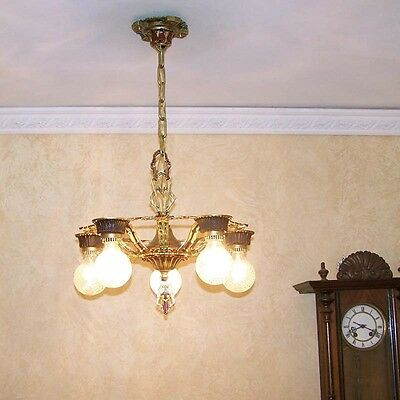 972 Vintage 20s 30s Ceiling Light  aRT Nouveau Polychrome Chandelier 6