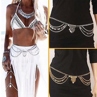 Charm Boho Silver Gold Multilayer Sequins Tassel Belt Waist Belly Body Chain HF