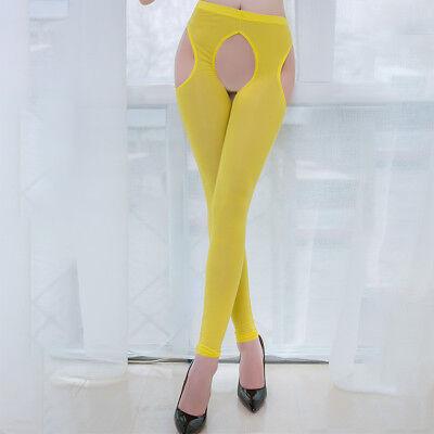 Women IceSilk Shiny Open Crotch Long Sheer Pants See Through Elastic Leggings * 8