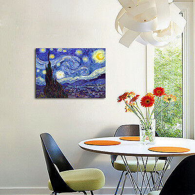 Starry Night by Van Gogh Fine Art Print Painting Reproduction on Canvas Framed 11
