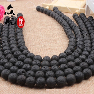 "Natural Black Volcanic Lava Gemstone Round Beads 15.5"" 8mm 10mm 12mm 14mm New// 8"