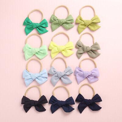 Baby Kids Toddler Soft Cotton Bow Tie Ring Nylon Headband Girls Hair Accessories 3
