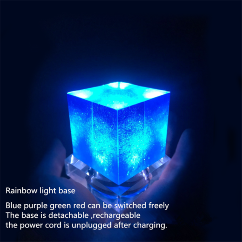 Avengers Thanos Tesseract Cube LED Light Infinity War Cosplay Props + Base 6.5cm 2