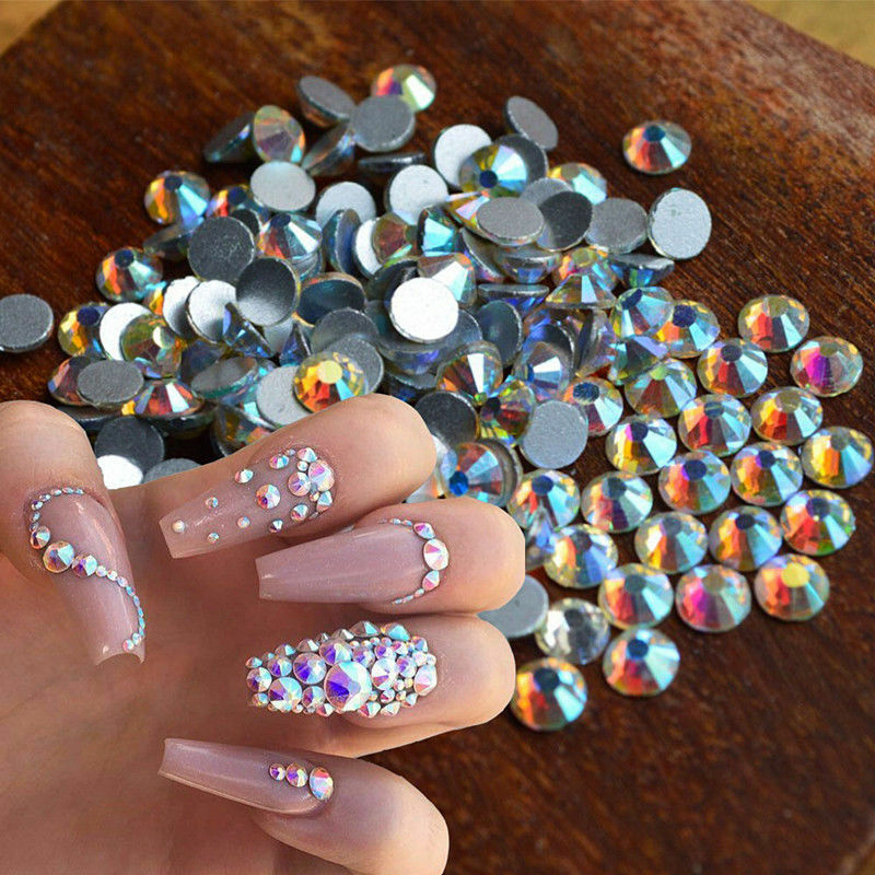 LOTS FLAT BACK Nail Art Rhinestones Glitter Diamond Gems 3D Tips DIY ...