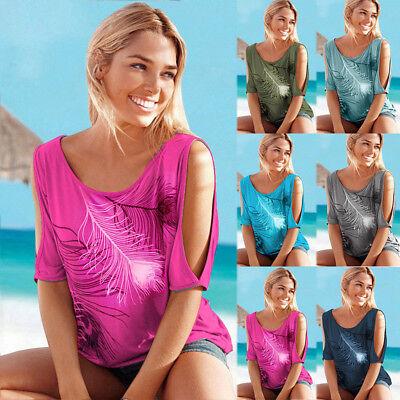 Women Summer Cold Shoulder Loose Top Blouse Ladies Casual Tops T-Shirt Plus Size 4