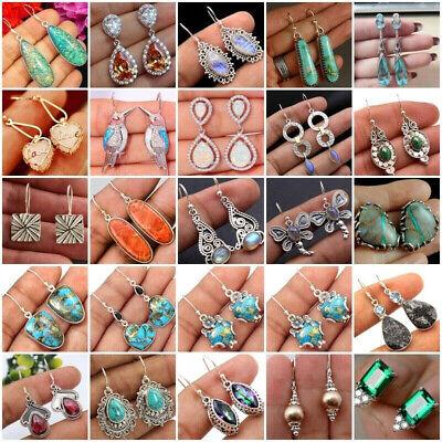 Silver Plated Vintage Turquoise Dangle Ear Hook Boho Hoop Women Jewelry Earrings 5