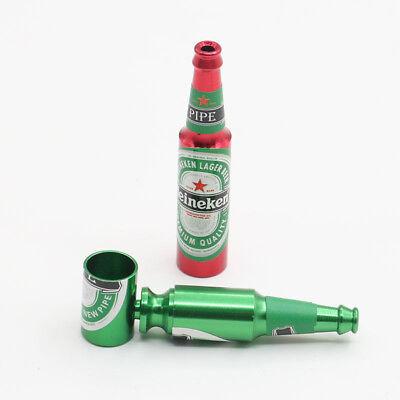 1X Beer Bottle Pipe Smoking Tobacco Herb Portable Metal Aluminum Tobacco Pipe #1 2