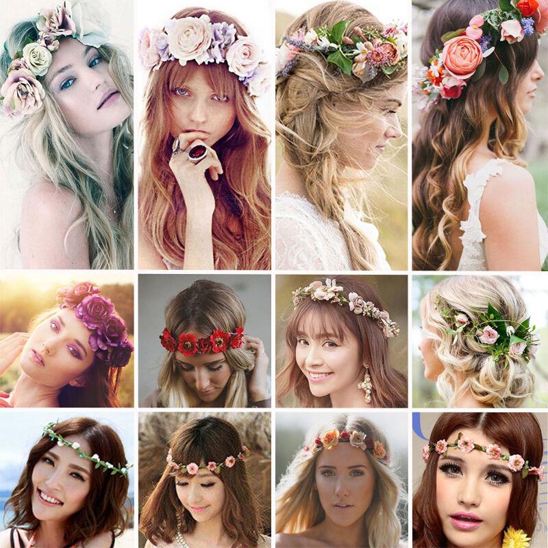 Femmes Bande de cheveux fleur serre-tête Couronne Mariée Fleurs Fête Mariage 2