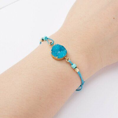 Handmade Make A Wish Natural Stone Braided Bracelet Bangle Women Jewelry Gift 2