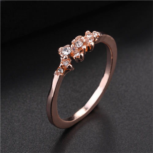 Fashion Women 14K Solid Rose Gold Stack Twisted Ring Wedding Party Women Jewelry 10
