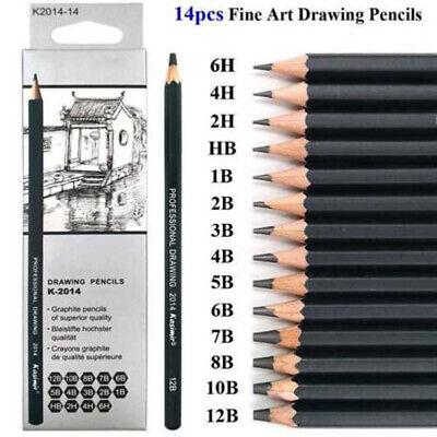 14*Sketch Art Drawing Pencil Sets 12B 10B 8B 7B 6B 5B 4B 3B 2B 1B HB 2H 4H 6H UK 3