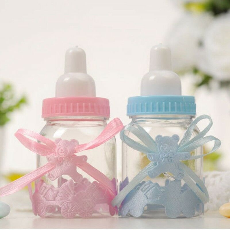 24X Fillable Bottles Candy Box Baby Shower Baptism Party Christening UK 6