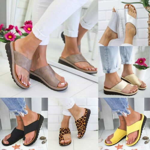 Womens Comfy Flat shoes Sandals Shoes Slipper - PU LEATHER - Bunion Corrector 5