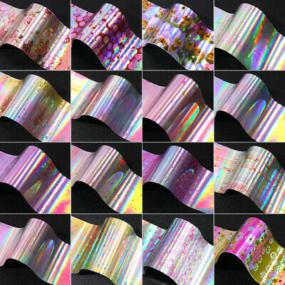 Holographic Flower Nail Foils Decal Nail Art Transfer Stickers Decoration Tips 12